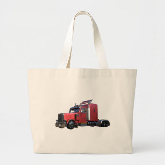 Metallic Red Semi TruckIn Three Quarter View Large Tote Bag