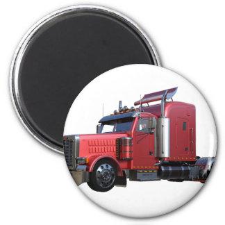 Metallic Red Semi TruckIn Three Quarter View Magnet
