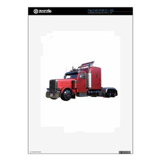 Metallic Red Semi TruckIn Three Quarter View Skin For The iPad 2
