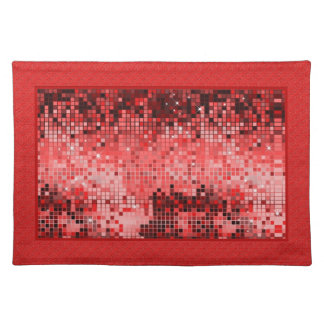 Metallic Red Sequins Look-Disco Ball Pattern Place Mats