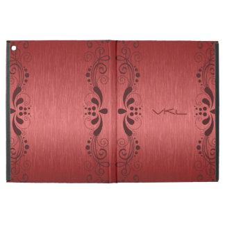 Metallic Red Texture & Floral Dark Brown Lace iPad Pro Case