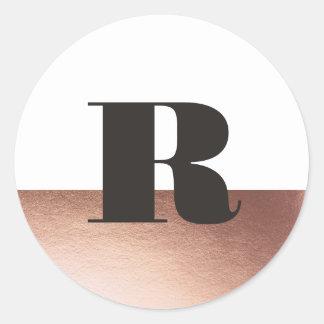Metallic rose gold dip dyed monogram sticker