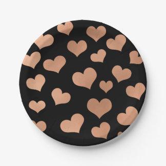 Metallic Rose Gold Hearts Confetti Black Copper Paper Plate