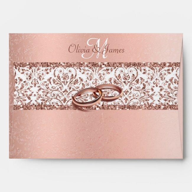 Metallic Rose Gold Monogram Damask Wedding Envelope