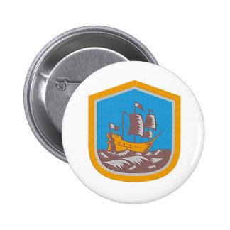 Metallic Sailing Ship Galleon Crest Retro Woodcut Badges