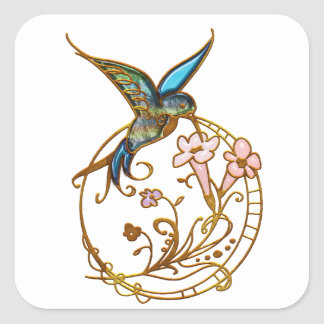Metallic Scrollwork with Hummingbird & Flowers Square Sticker