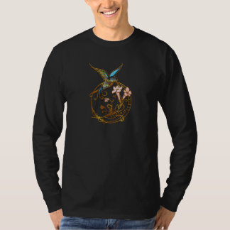 Metallic Scrollwork with Hummingbird & Flowers T-Shirt