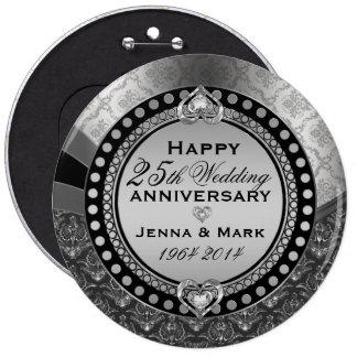 Metallic Silver 25th Wedding Anniversary 2 6 Inch Round Button