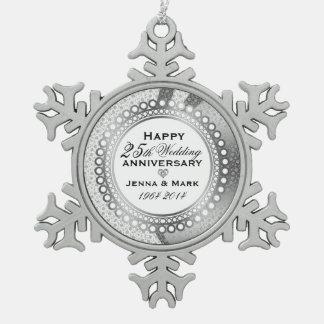 Metallic Silver 25th Wedding Anniversary 5 Snowflake Pewter Christmas Ornament