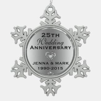Metallic Silver 25th Wedding Anniversary Ornament