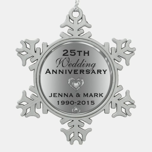 Metallic Silver 25th Wedding Anniversary Ornament Zazzle