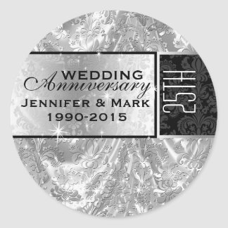 Metallic Silver 25th Wedding Anniversary Ornament Classic Round Sticker