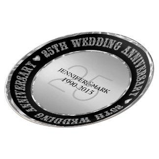 Metallic Silver And Black 25th Anniversary Plate