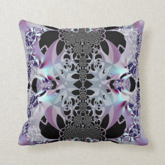 Metallic Silver and Black Lace American MoJo Pillo Throw Pillows