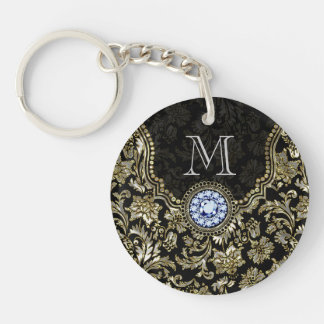 Metallic Silver And Gold Floral Damasks Keychain