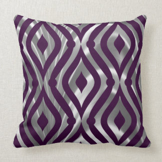 Metallic Silver And Purple Geometric Pattern Throw Pillow