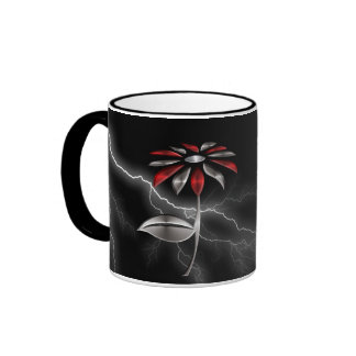 Metallic Silver and Red Flower with Lightening Ringer Coffee Mug