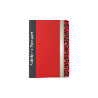 Metallic Silver and Red Leopard | Personalize Passport Holder
