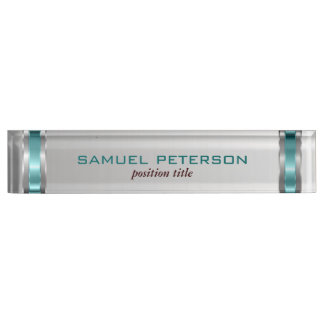Metallic Silver Background And Blue Accents Desk Name Plate