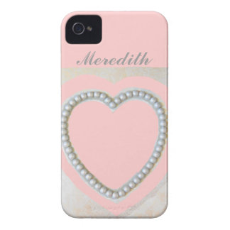 Metallic Silver Bead Heart Case-Mate iPhone 4 Cases