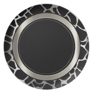 Metallic Silver & Black Giraffe Animal Pattern Dinner Plate