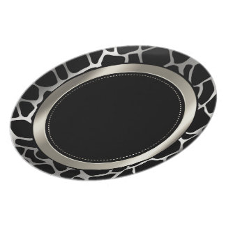 Metallic Silver & Black Giraffe Animal Pattern Dinner Plate