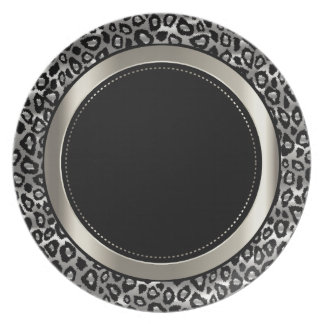 Metallic Silver & Black Leopard Animal Pattern Melamine Plate