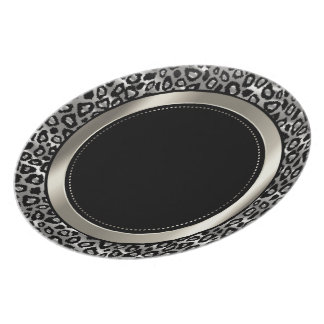 Metallic Silver & Black Leopard Animal Pattern Melamine Plate