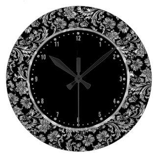 Metallic Silver & Black Vintage Floral Damasks Large Clock