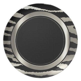 Metallic Silver & Black Zebra Animal Pattern Dinner Plate