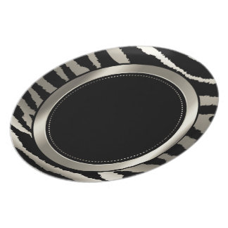 Metallic Silver & Black Zebra Animal Pattern Dinner Plate