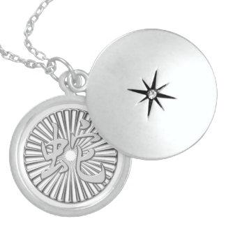 Metallic Silver Chinese Snake Kanji Circle Sterling Silver Necklace