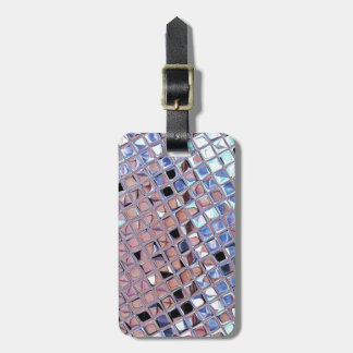 Metallic Silver Disco Ball Mirrors Faux Bag Tag