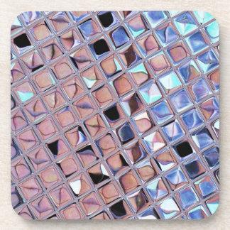 Metallic Silver Disco Ball Mirrors Faux Beverage Coaster