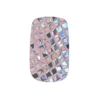 Metallic Silver Disco Ball Mirrors Faux Minx Nail Art