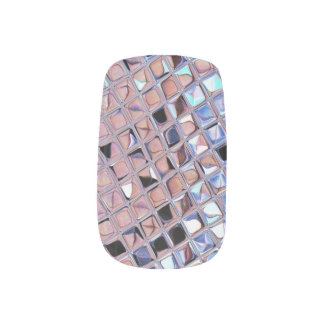 Metallic Silver Disco Ball Mirrors Faux Minx® Nail Art
