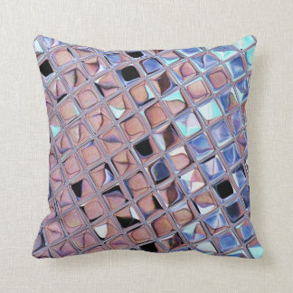 Metallic Silver Disco Ball Mirrors Faux Pillow