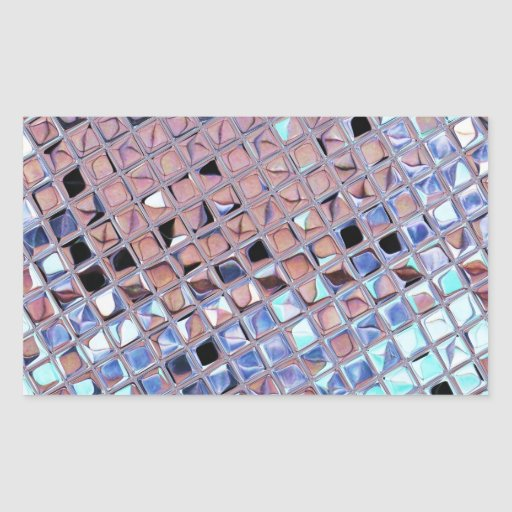 Metallic Silver Disco Ball Mirrors Faux Rectangular Stickers