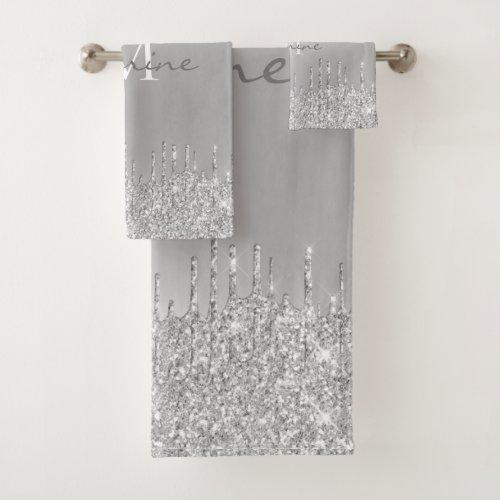 Metallic Silver Dripping Glitter Monogrammed Bath Towel Set