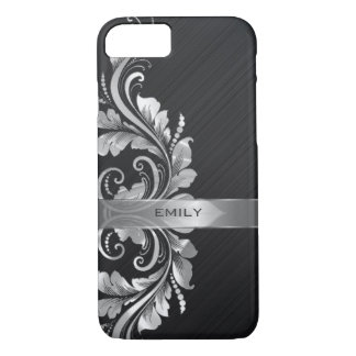 Metallic Silver Floral Swirl Black Background iPhone 8/7 Case