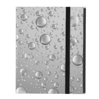Metallic Silver Gray Abstract Rain Drops iPad Case