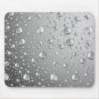 Metallic Silver Gray Abstract Rain Drops Mouse Pad