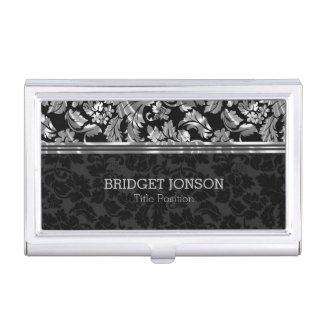Metallic Silver Gray And Black Damask Business Card Case