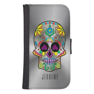Metallic Silver Gray And Colorful Sugar Skull Galaxy S4 Wallet Case