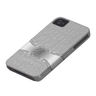 Metallic Silver Gray And White Glitter Pattern iPhone 4 Case