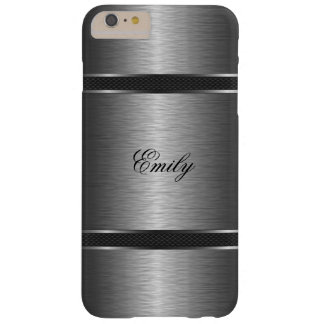 Metallic Silver Gray Brushed Aluminum Look Barely There iPhone 6 Plus Case
