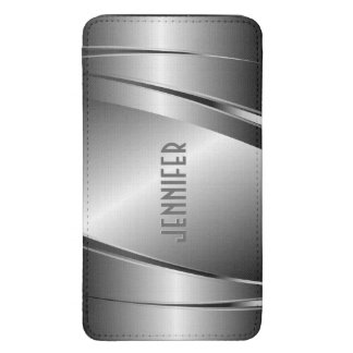 Metallic Silver Gray Brushed Aluminum Look Galaxy S5 Pouch