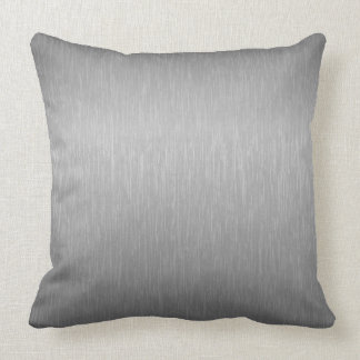 Metallic Silver Gray Brushed Aluminum Look Throw Pillow