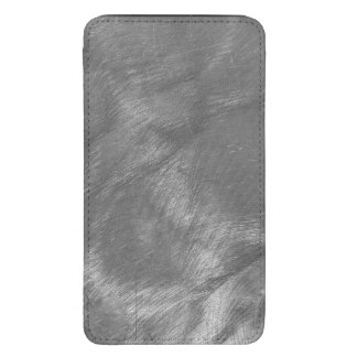 Metallic Silver Gray Design Brushed Steel Look Galaxy S5 Pouch