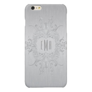 Metallic Silver Gray Floral Frame Glossy iPhone 6 Plus Case